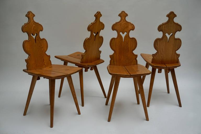 Polish Set of Four Wooden Chairs For Sale