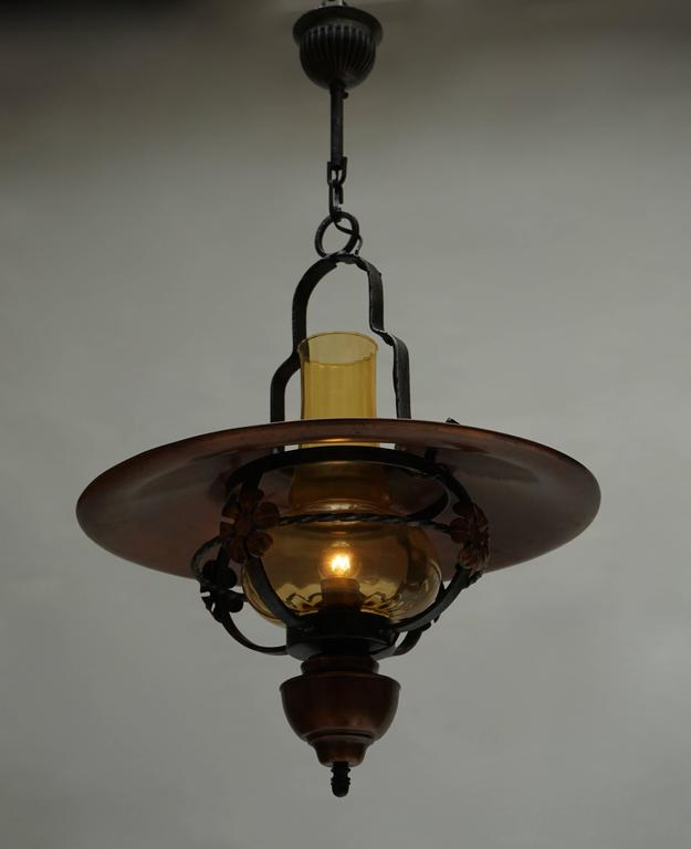 Mid-Century Modern Copper and Glass Pendant Light For Sale
