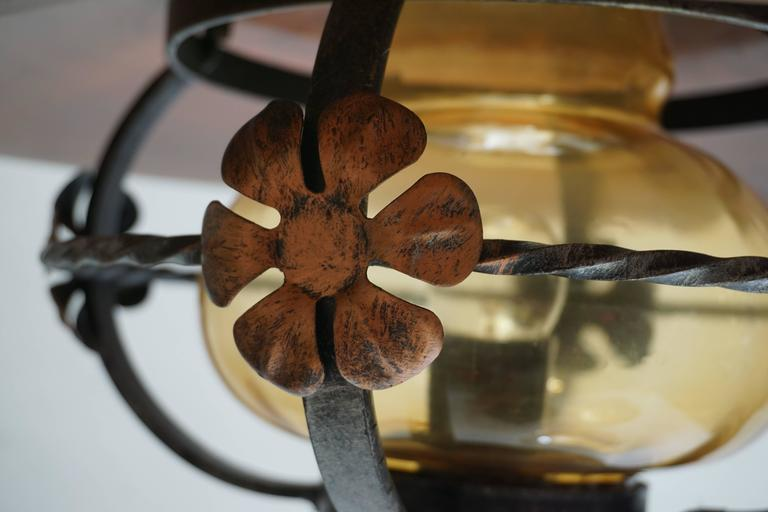 20th Century Copper and Glass Pendant Light For Sale