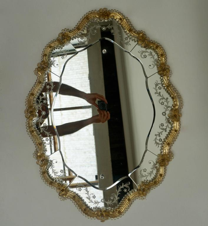Mid-Century Modern Oval Venetian Mirror For Sale