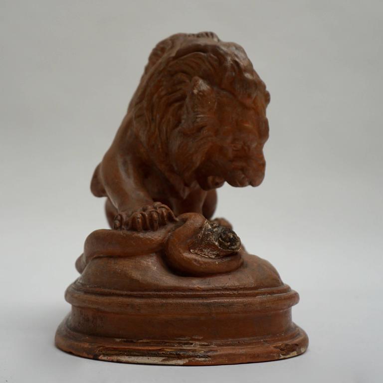 Belgian Terracotta Lion Sculpture For Sale