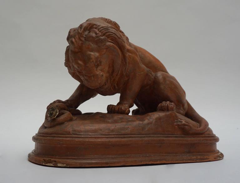 Art Deco Terracotta Lion Sculpture For Sale