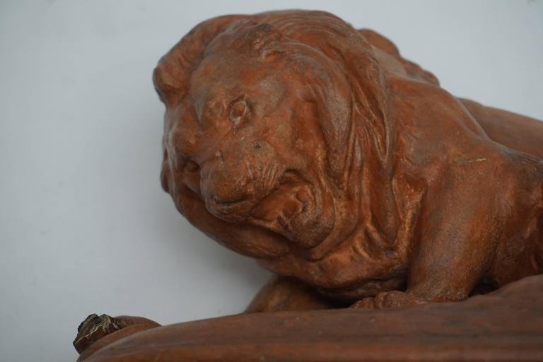 Terracotta Lion Sculpture For Sale 1