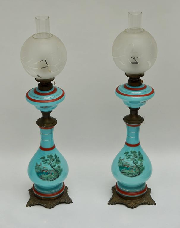 Mid-Century Modern Pair of 19th Century French Opaline Lamps For Sale