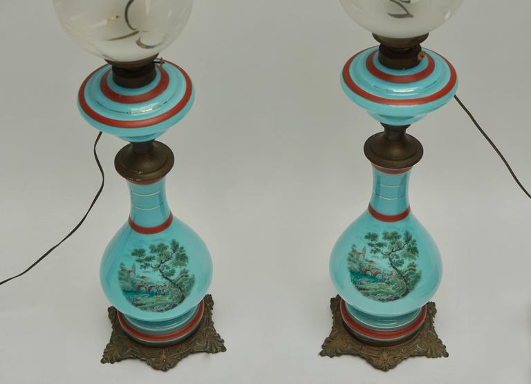 Pair of 19th Century French Opaline Lamps For Sale 1