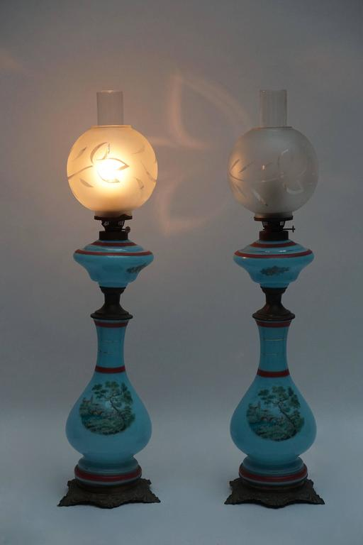 Pair of 19th century French opaline lamps, formerly oil.