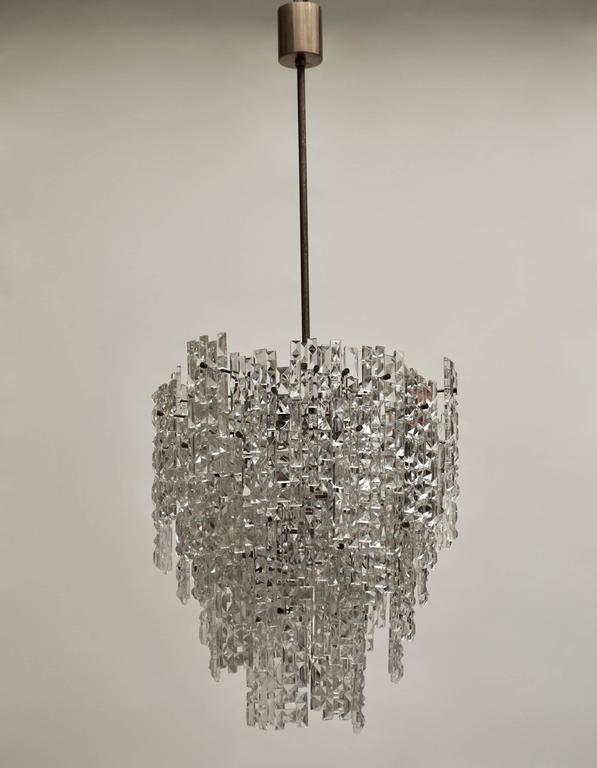 Mid-Century Modern Monumental Kinkeldey Crystal Chandelier For Sale