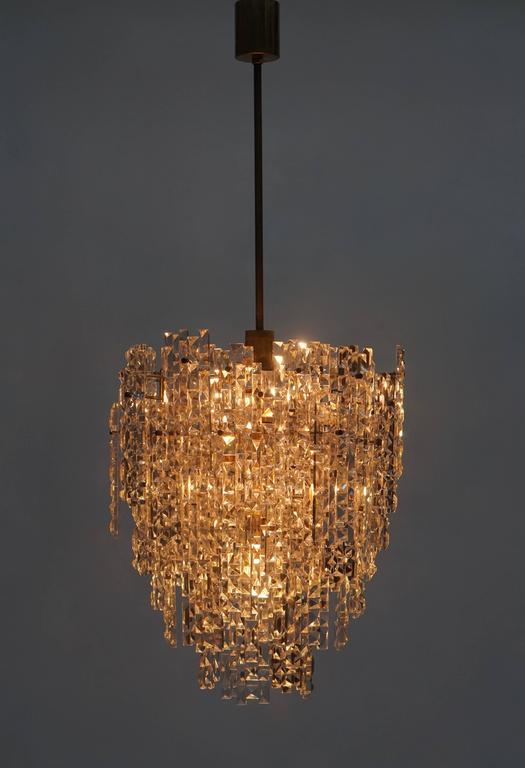 German Monumental Kinkeldey Crystal Chandelier For Sale