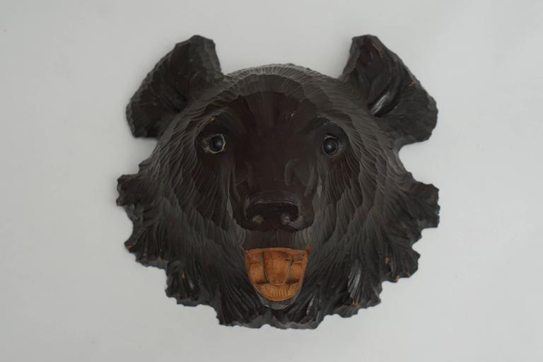 Japanese Hand-Carved Wooden Black Forest Bear For Sale