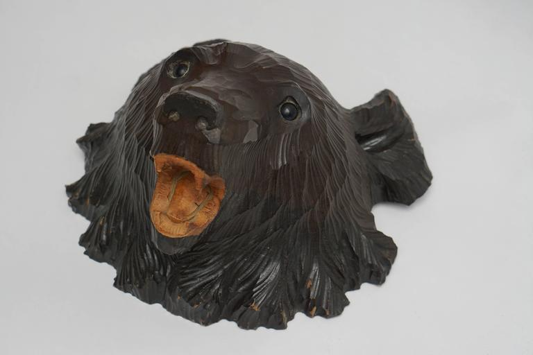 Mid-Century Modern Hand-Carved Wooden Black Forest Bear For Sale