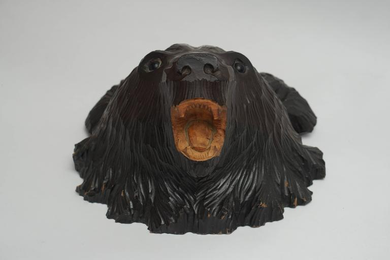 20th Century Hand-Carved Wooden Black Forest Bear For Sale