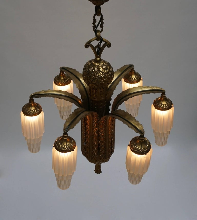 Very Fine Art Deco Bronze and Glass Six-Light Chandelier 6