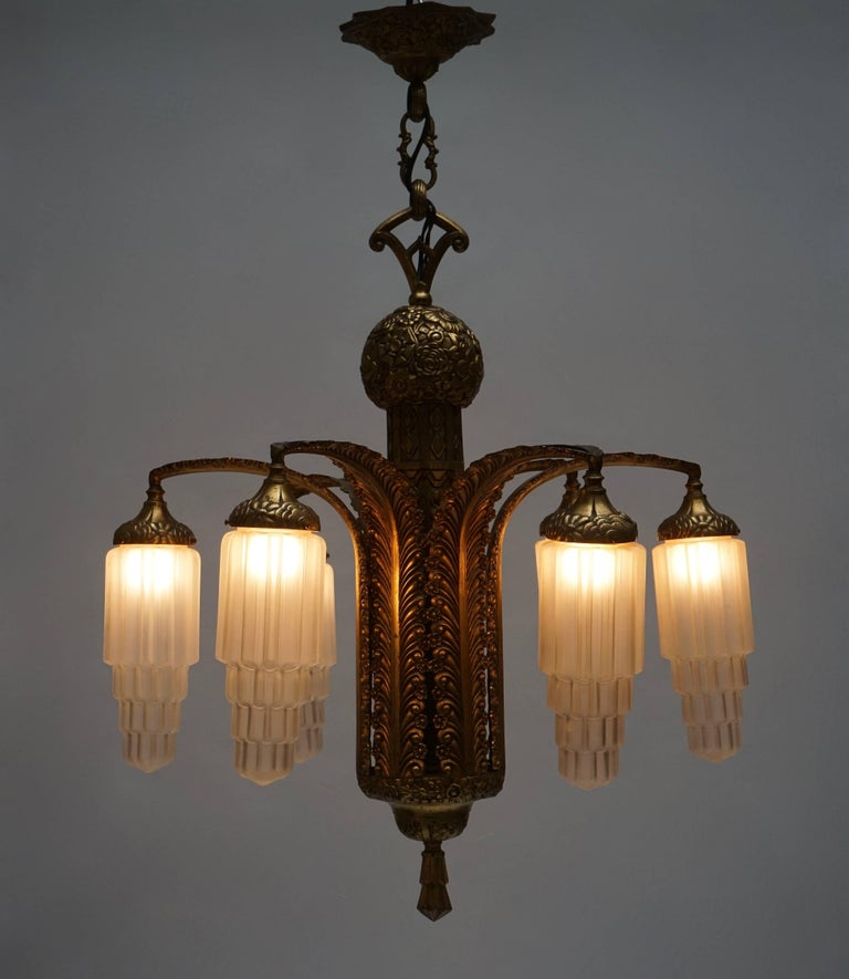 Very Fine Art Deco Bronze and Glass Six-Light Chandelier 8