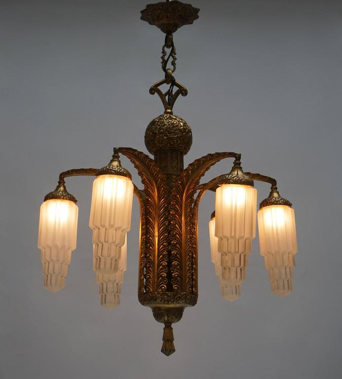 20th Century Very Fine Art Deco Bronze and Glass Six-Light Chandelier For Sale