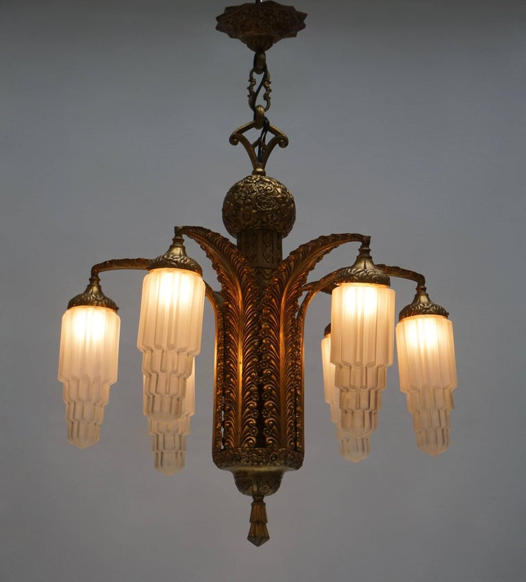 Very Fine Art Deco Bronze and Glass Six-Light Chandelier 5