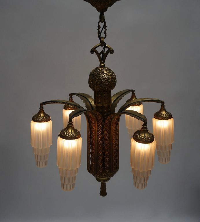 Very Fine Art Deco Bronze and Glass Six-Light Chandelier For Sale 4