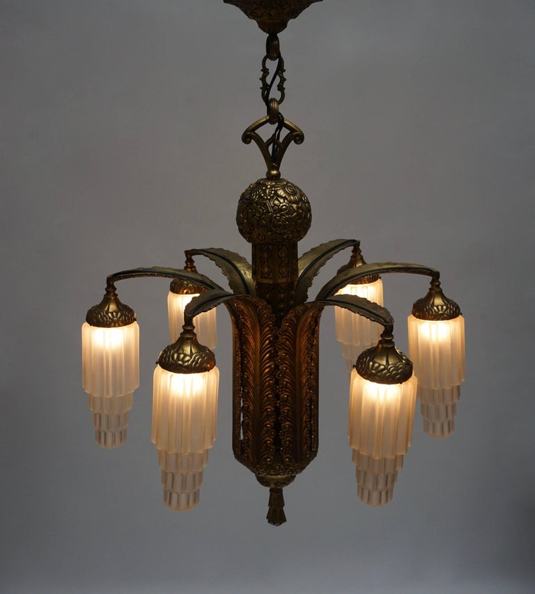 Very Fine Art Deco Bronze and Glass Six-Light Chandelier 9