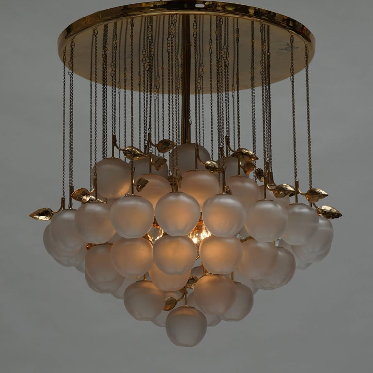 Glass and Brass Chandelier For Sale 1