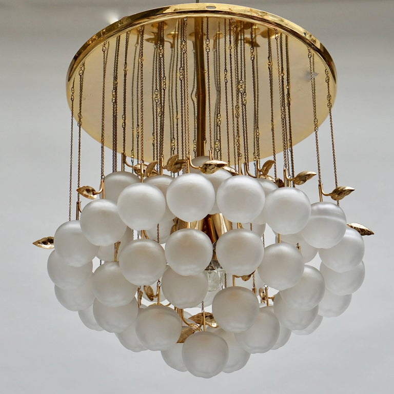 Glass and Brass Chandelier In Good Condition For Sale In Antwerp, BE