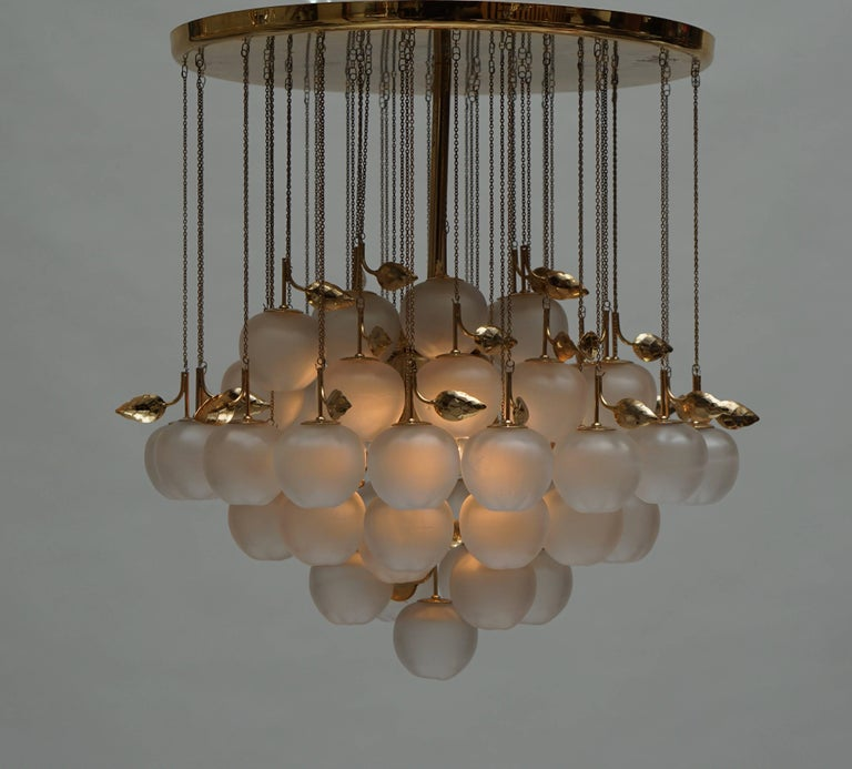 Glass and Brass Chandelier For Sale 2