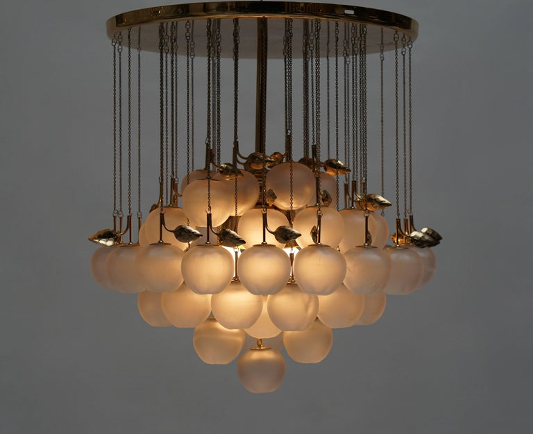 Glass and Brass Chandelier 5