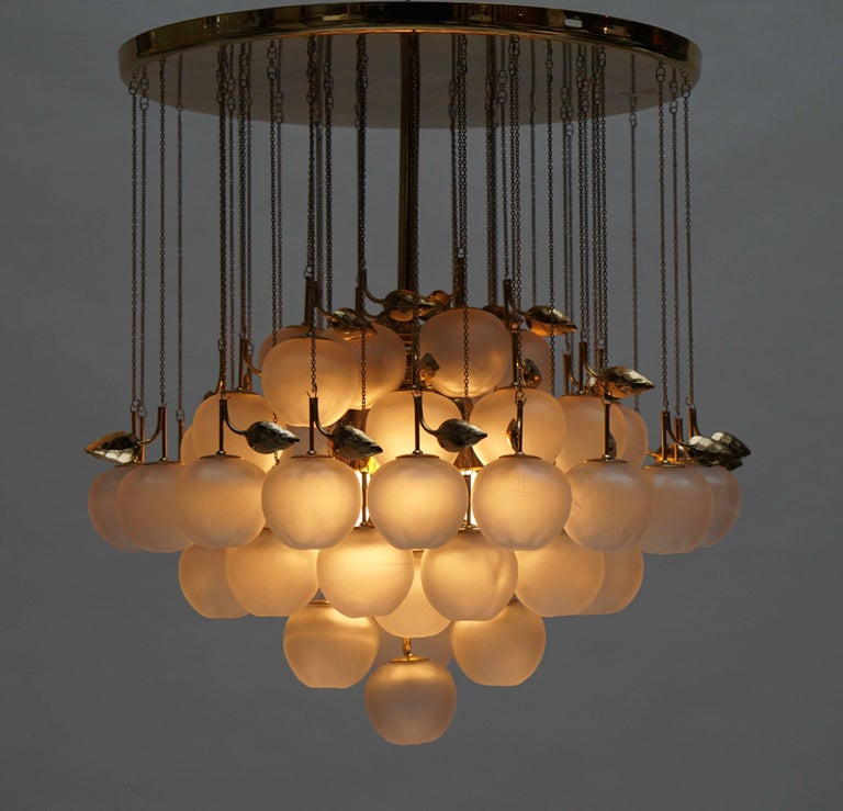 20th Century Glass and Brass Chandelier For Sale
