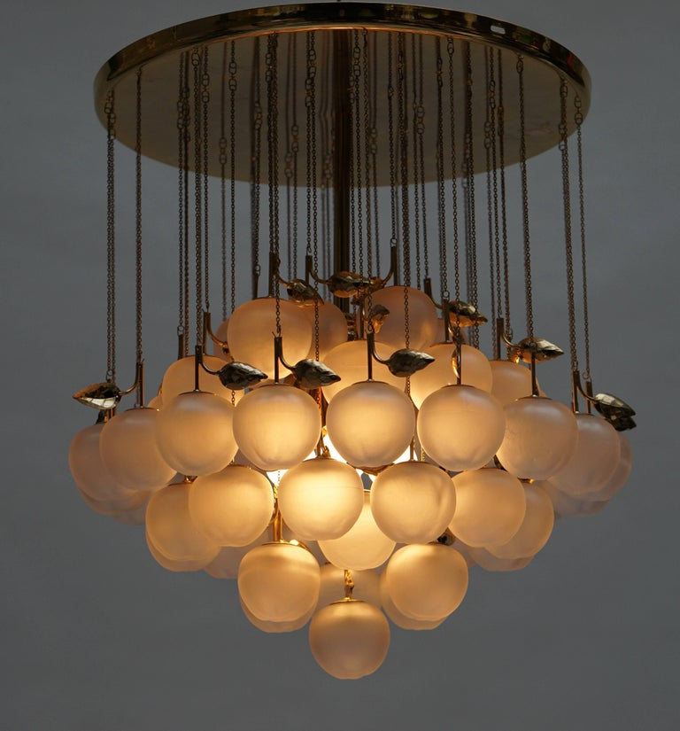 Mid-Century Modern Glass and Brass Chandelier For Sale