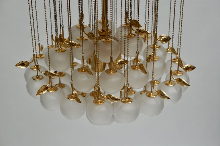 Glass and Brass Chandelier For Sale 3