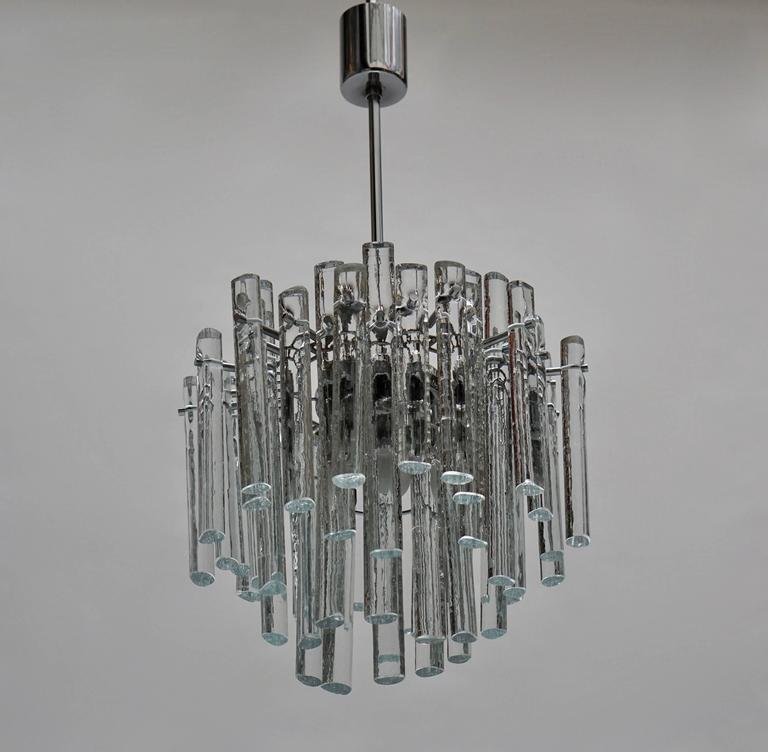 German Signed Gilt Metal Crystal Glass Chandelier by Kinkeldey For Sale