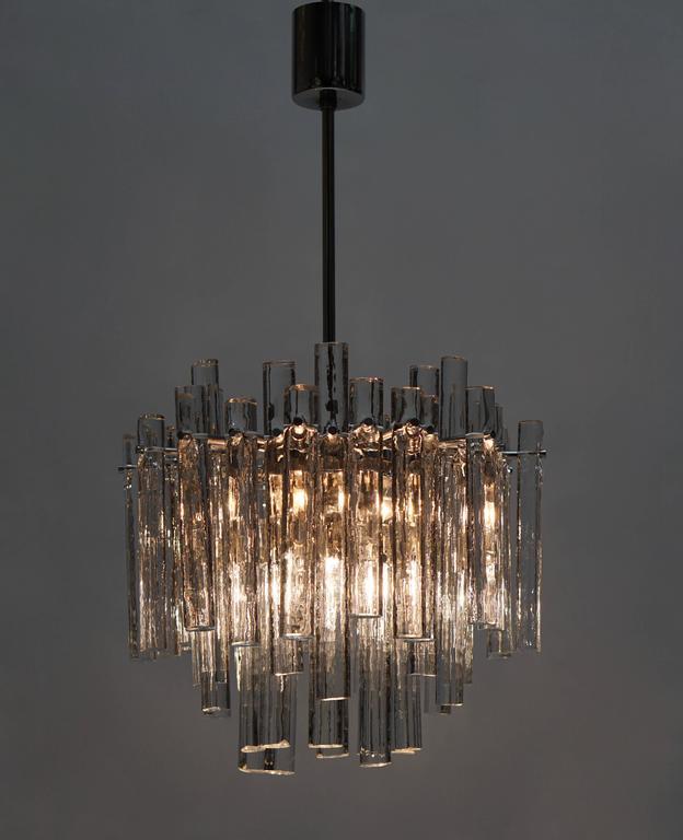 Signed Gilt Metal Crystal Glass Chandelier by Kinkeldey For Sale 2
