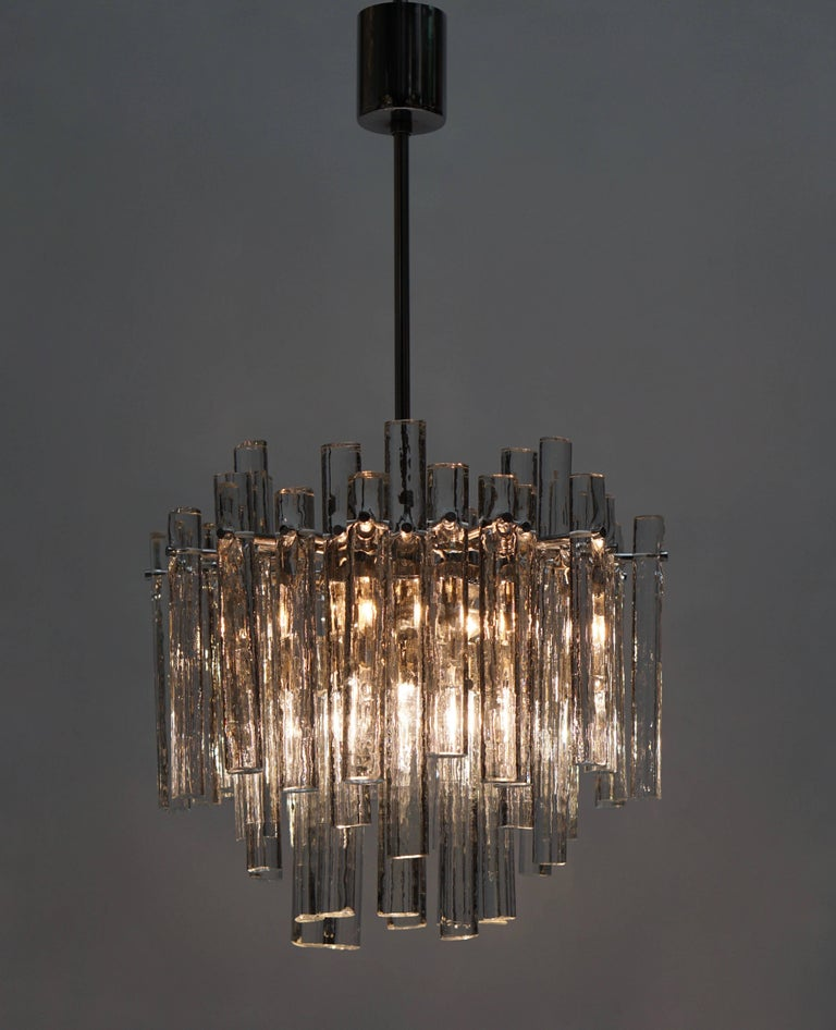 Signed Gilt Metal Crystal Glass Chandelier by Kinkeldey For Sale 2