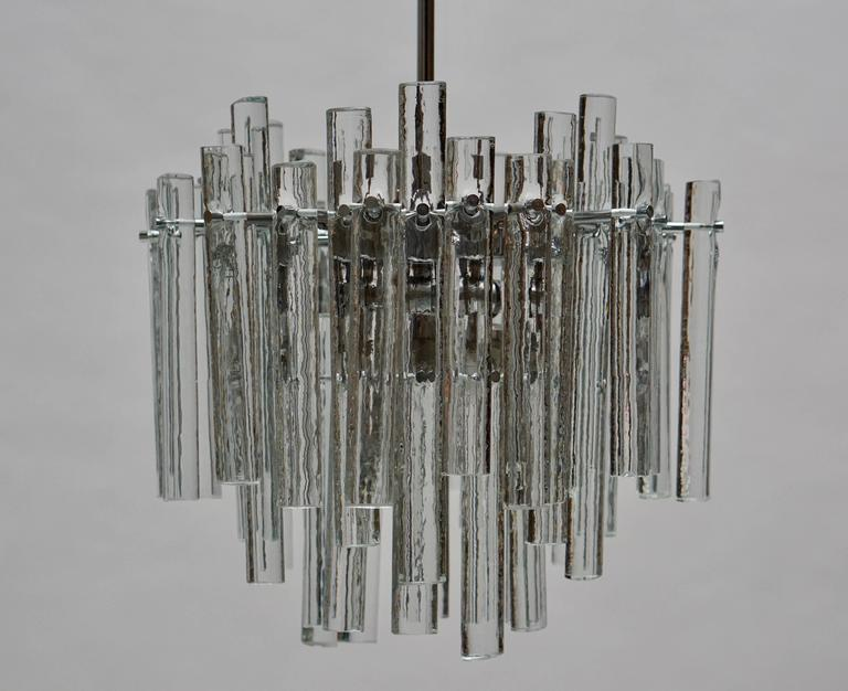 Mid-Century Modern Signed Gilt Metal Crystal Glass Chandelier by Kinkeldey For Sale