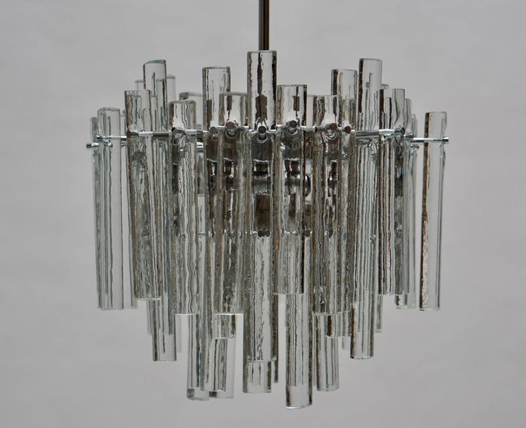 Mid-Century Modern Signed Gilt Metal Crystal Glass Chandelier by Kinkeldey For Sale