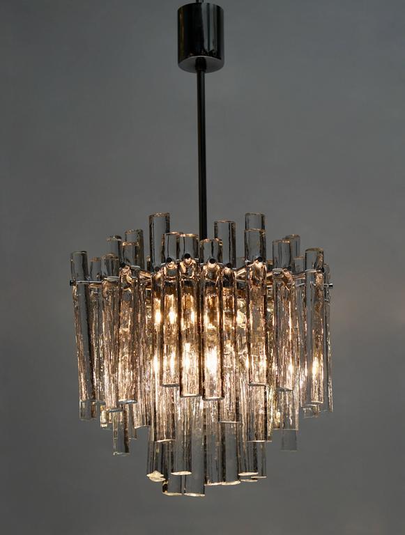20th Century Signed Gilt Metal Crystal Glass Chandelier by Kinkeldey For Sale