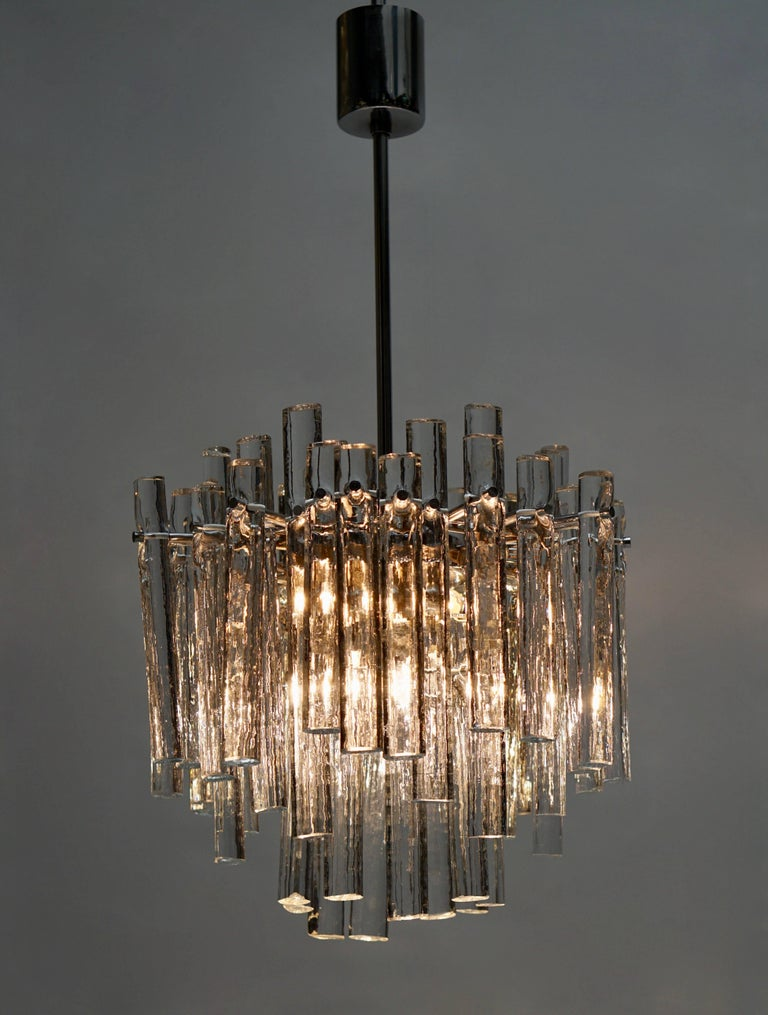 20th Century Signed Gilt Metal Crystal Glass Chandelier by Kinkeldey For Sale