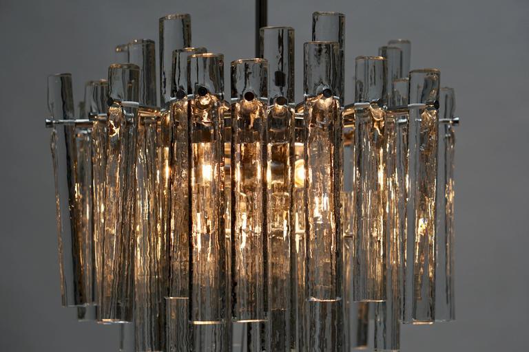 Signed Gilt Metal Crystal Glass Chandelier by Kinkeldey For Sale 3
