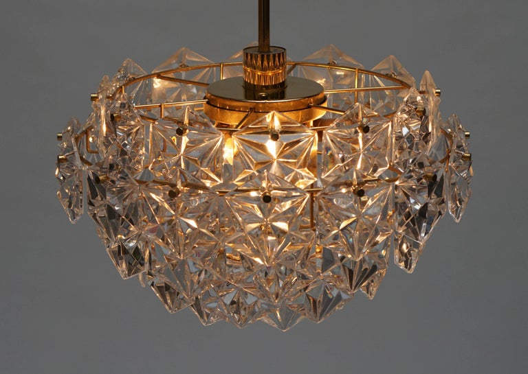 Mid-Century Modern Chandelier, Gold-Plated with Molded-Crystals, Kinkeldey 7