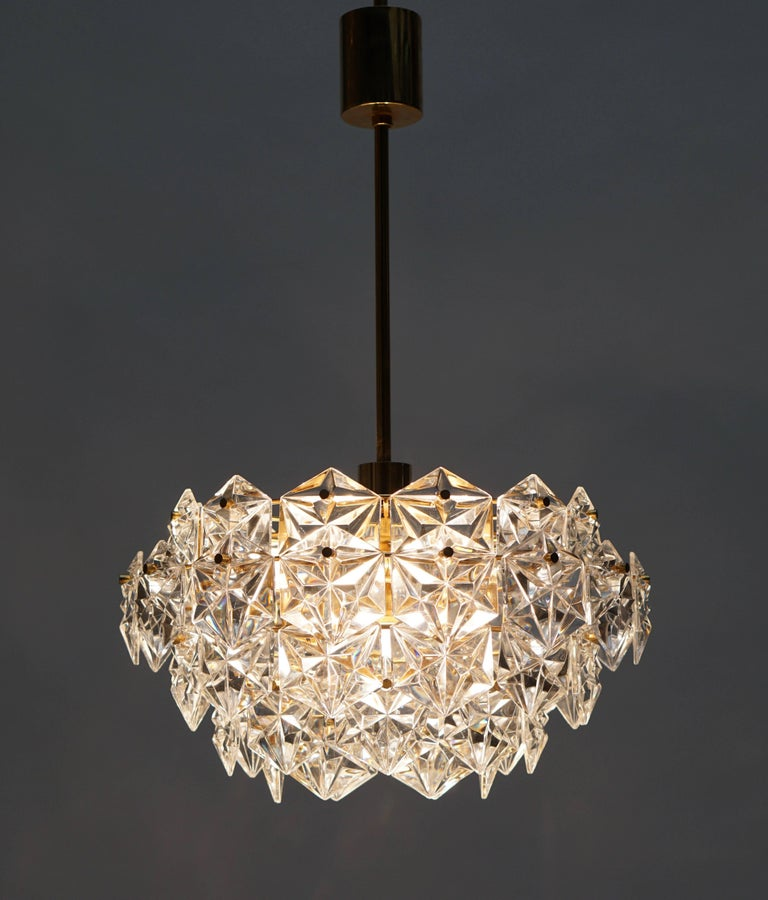 Mid-Century Modern Chandelier, Gold-Plated with Molded-Crystals, Kinkeldey 8