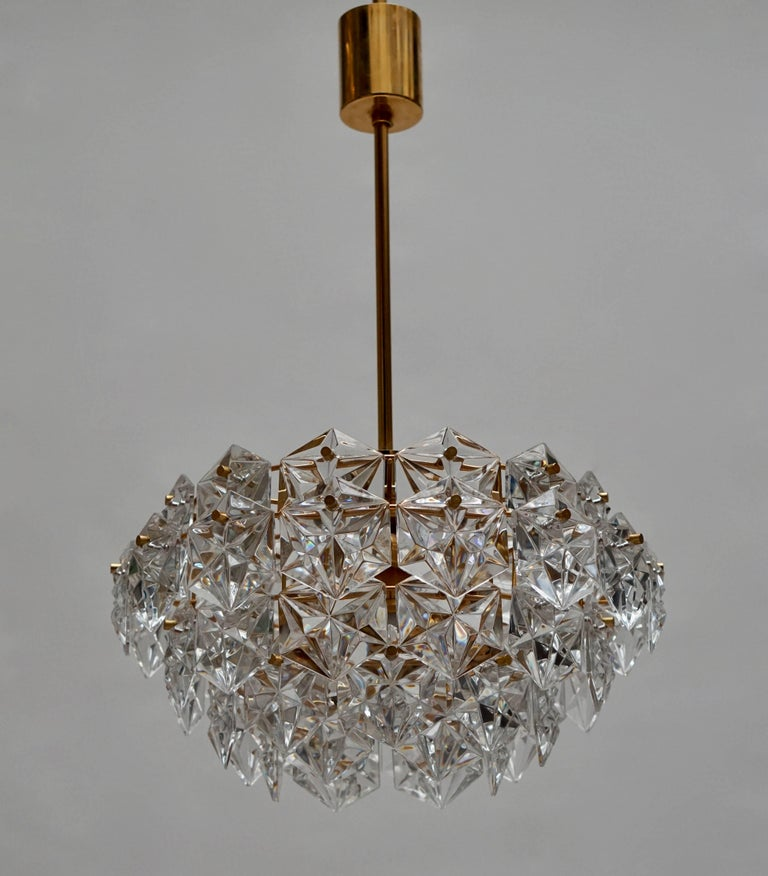 Mid-Century Modern Chandelier, Gold-Plated with Molded-Crystals, Kinkeldey 4