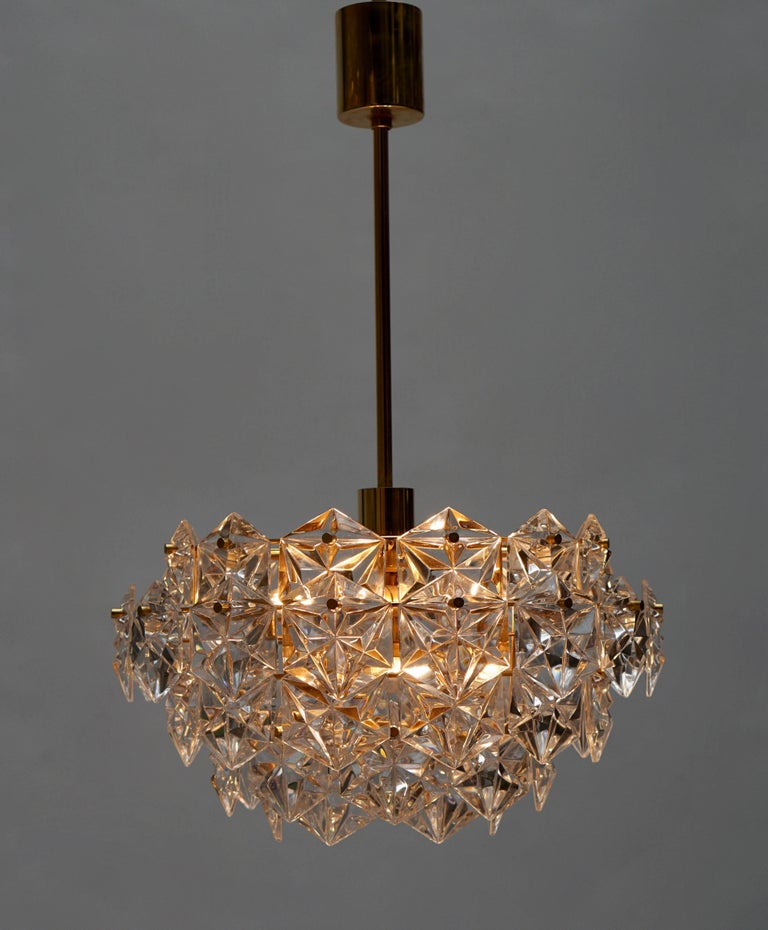 Mid-Century Modern Chandelier, Gold-Plated with Molded-Crystals, Kinkeldey 2