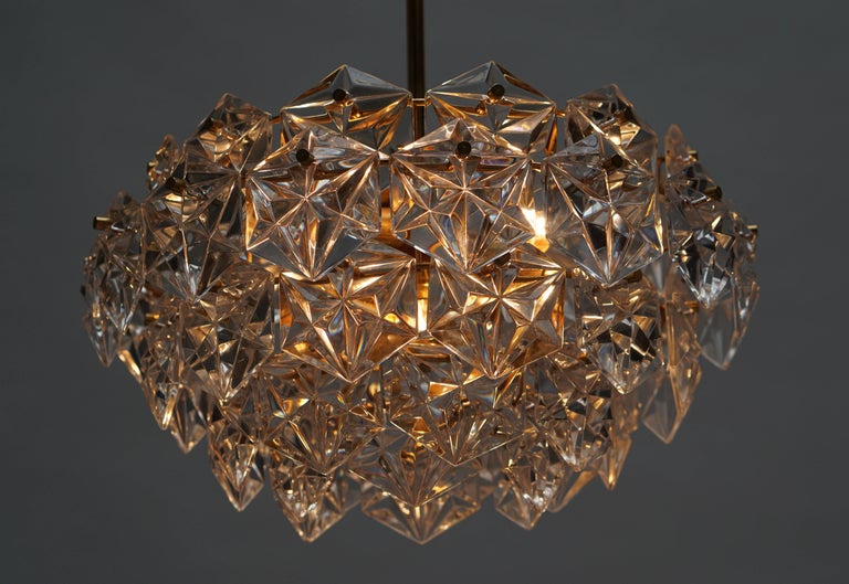 Mid-Century Modern Chandelier, Gold-Plated with Molded-Crystals, Kinkeldey 5