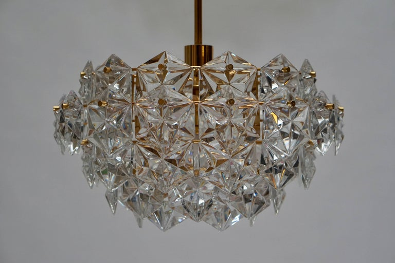 Mid-Century Modern Chandelier, Gold-Plated with Molded-Crystals, Kinkeldey 6