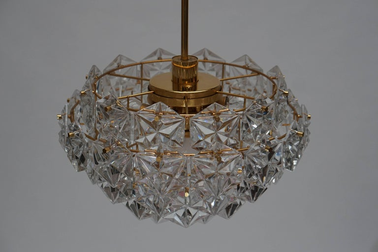 Mid-Century Modern Chandelier, Gold-Plated with Molded-Crystals, Kinkeldey 10