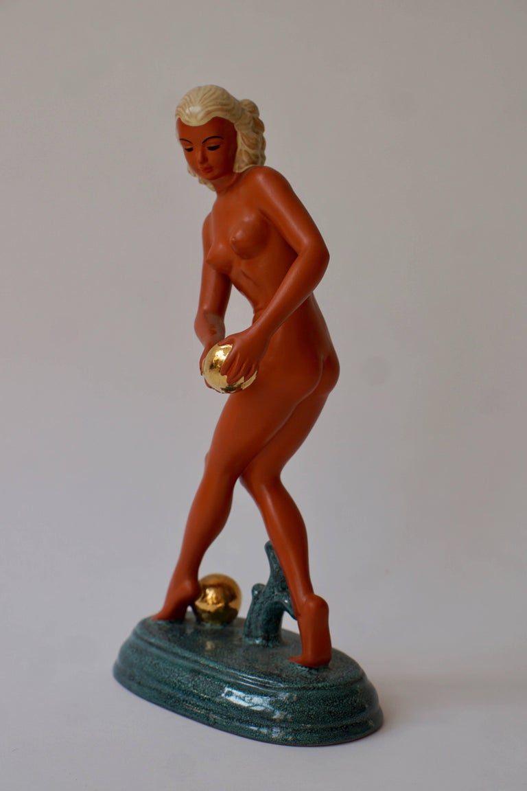 Italian Art Deco Female Nude Sculpture For Sale