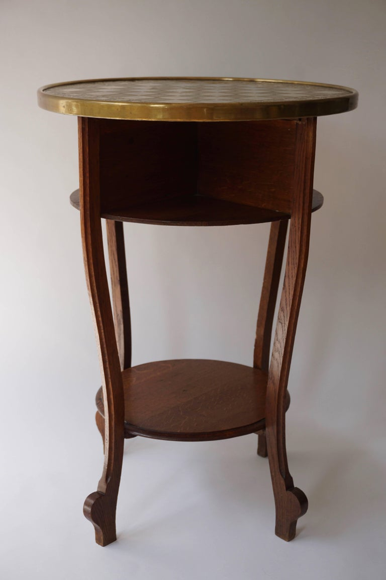 Chess Table In Wood And Copper Top At 1stdibs