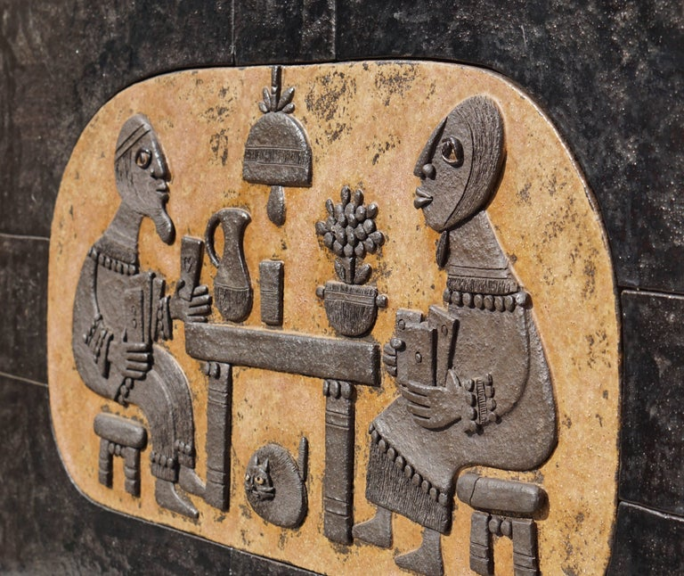 A spectacular ceramic mural by renowned Belgium sculptural ceramist Marie Henriette Bataille,1960s. Gamblers play a card game.  Dimensions: Width 96 cm. Height 57 cm. Depth 3 cm.  Weight 20 kg.