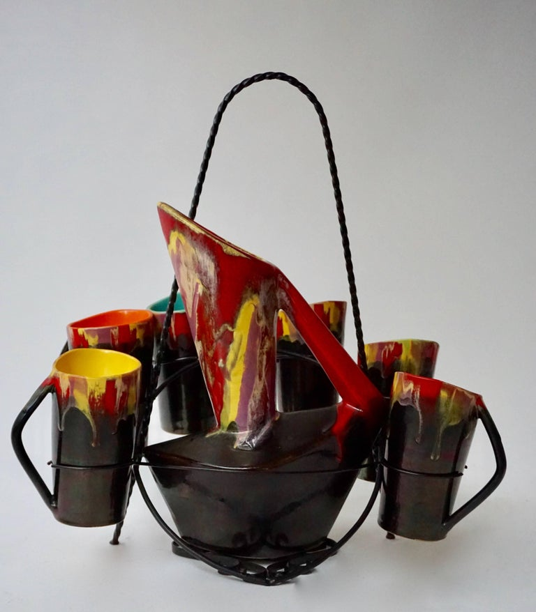 French Vallauris Ceramic Pitcher with Six Cups, France, 1950s For Sale