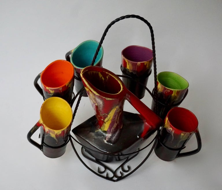 Vallauris Ceramic Pitcher with Six Cups, France, 1950s In Good Condition For Sale In Antwerp, BE