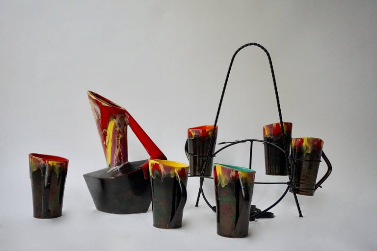 Vallauris Ceramic Pitcher with Six Cups, France, 1950s For Sale 2