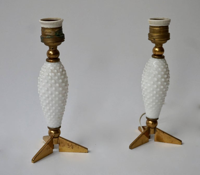 Pair of Italian Brass and Glass Table Lamps In Good Condition For Sale In Antwerp, BE